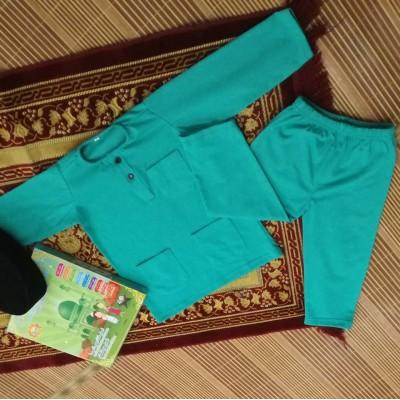 Baju Melayu Cotton Tshirt - JebatKidz GREEN PETRONAS