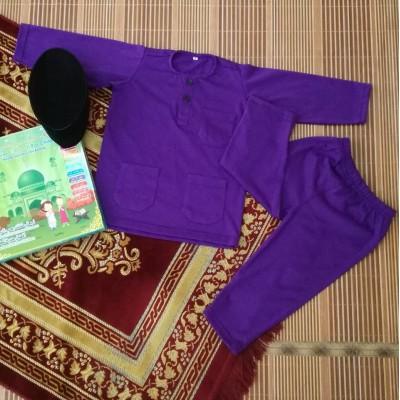 Baju Melayu Cotton Tshirt - JebatKidz PURPLE