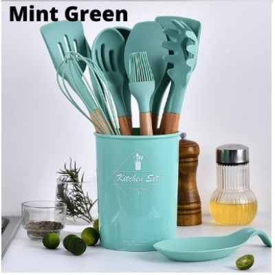 Silicone Cooking Utensils Set 12pcs Handle Cooking Tools Senduk Sodet - K414